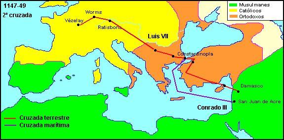 La Segunda Cruzada fue convocada en 1145 en respuesta a la caída del condado de Edesa un año antes. Convocada por el papa Eugenio iii