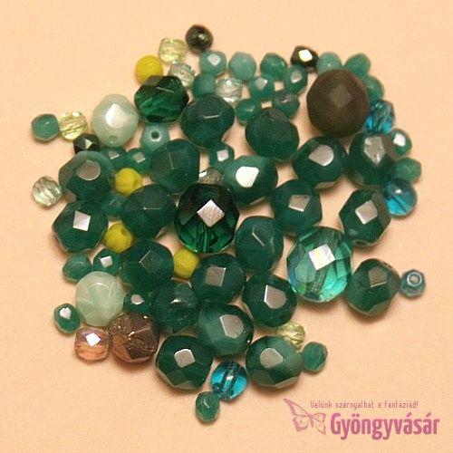 Zöld vegyes cseh csiszolt gyöngy (10 g) • Gyöngyvásár.hu