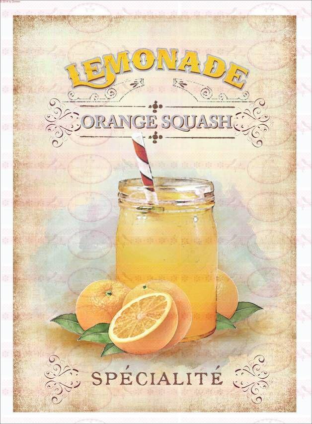 Bügelbilder - Bügelbild A4 Sommer Limonade Orange 1526 - ein Designerstück von Doreens-Bastelstube bei DaWanda