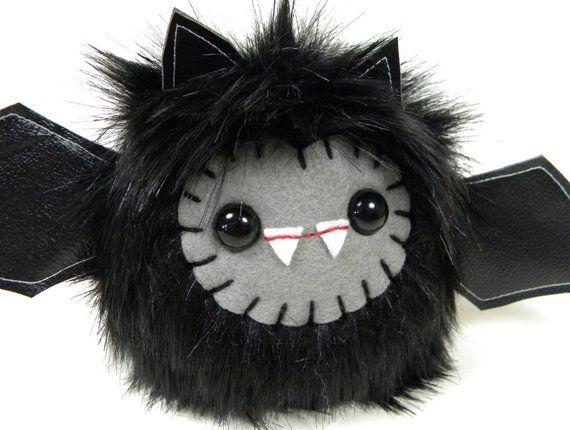Plush Bat Toy Black Stuffed Animal Cute Plushie Kawaii Vampire Bat Small Fluffy Soft Furry Stuffed Toy Gothic Monster Faux Fur 6×9 inches