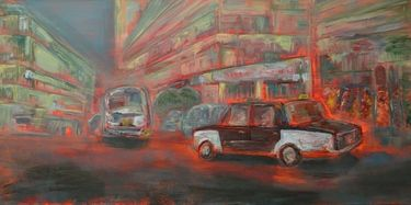 Cairo Taxi V (Oil on Canvas). Original for sale.   I see the ubiquitous Cairo Taxi as a metaphor for the country. After 30 years of bumps, the Taxi is somehow still moving along its journey.