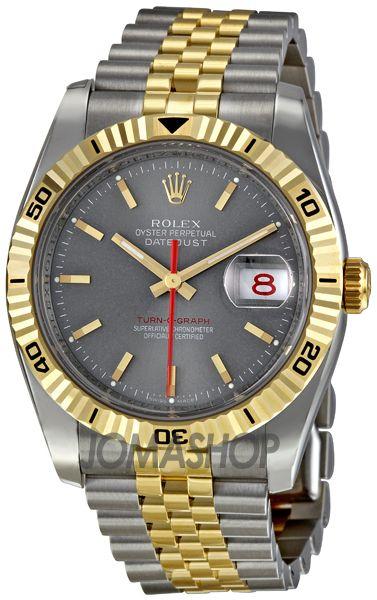 Rolex Datejust Grey Index Dial 18k Yellow Gold Turn-o-Graph Bezel Jubilee Bracelet Mens Watch 116263GYSJ