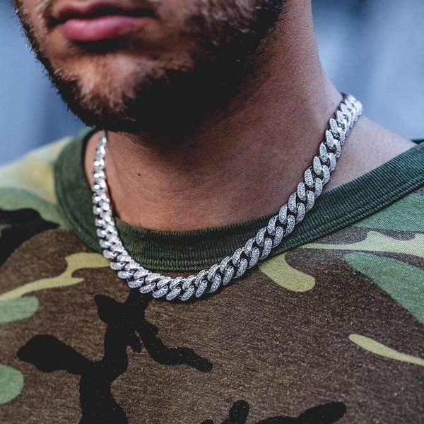 Diamond Cuban Link Necklace 10mm In White Gold Cuban Link Choker Cuban Link Chain Cuban Link Necklace