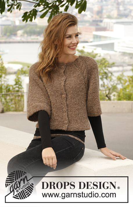 """Knitted DROPS jacket with raglan and ¾ sleeves in """"Alpaca Bouclé"""", worked top down. Size: S - XXXL. ~ DROPS Design"""