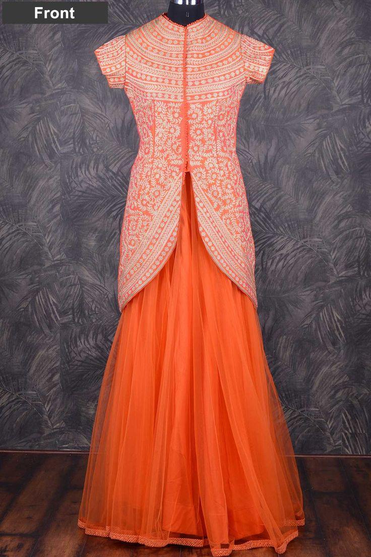 Orange classy raw silk indowestern lehenga with zari work-GC998 - Indo Western - Gowns. Shop Here http://bit.ly/2aTc7e7