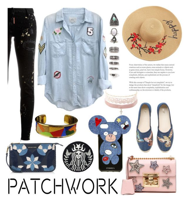 """""""patch it up:jeans season"""" by jhmess ❤ liked on Polyvore featuring Gucci, Rails, Dsquared2, RED Valentino, Hermès, MICHAEL Michael Kors, Iphoria, Nasty Gal, Charlotte Russe and Summer"""