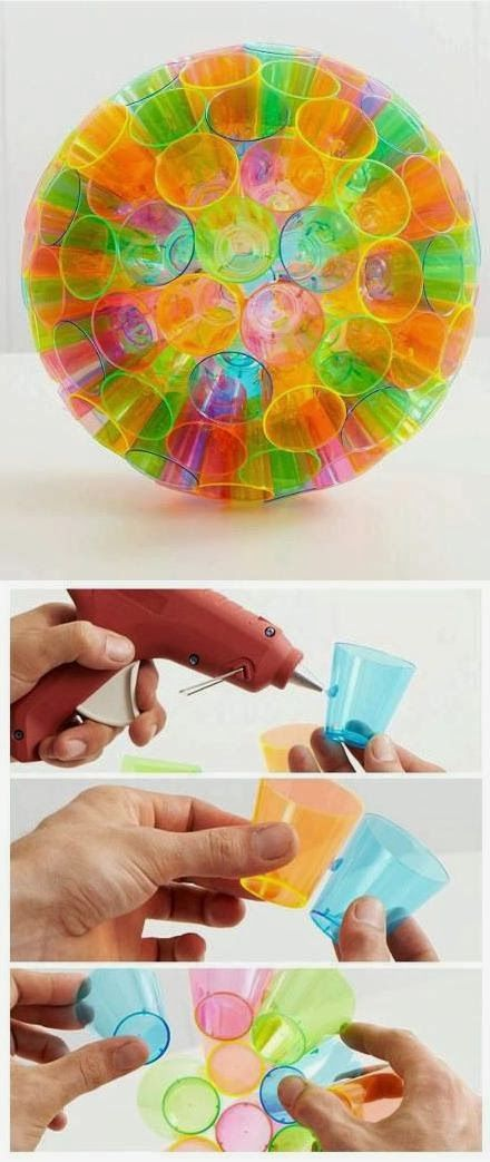 Make a Colorful Lampshade By Plastic Cups add christmas lights to bottoms