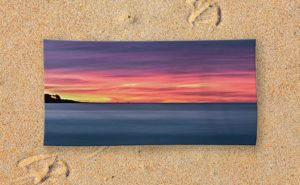 Sunset Peninsular, Bunker Bay Bath Towel design by Dave Catley featuring the…