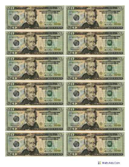 Bills Manipulatives Worksheets