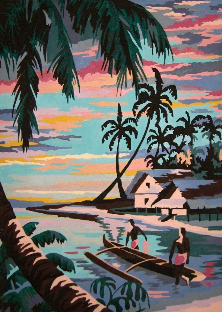 Vintage Paint By Number Paintings   Vintage Tropical Painting Paint by Number PBN Islands Canoe Islanders