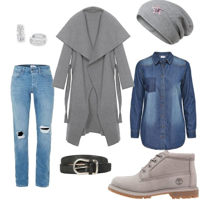 OneOutfitPerDay 2017-01-28 - #ootd #outfit #fashion #oneoutfitperday #fashionblogger #fashionbloggerde #frauenoutfit #herbstoutfit - Frauen Outfit Frühlings Outfit Outfit des Tages Ankle Blau Boot Creolen Gürtel JACQUELINE De YONG Jeans Jeanshemd Kendindza Collection Mantel Mütze Post & Co Red s.Oliver S.Oliver RED LABEL Silber Timberland Topman Trenchcoat Zwillingsherz