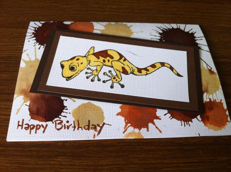 Cute little Gecko Card using distress stains and Alcohol Ink Art Markers  #craftnnails #chantelecrowley #craftwithchan