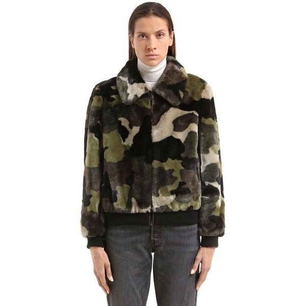 Stand Women Marion Camouflage Faux Fur Bomber Jacket (529 AUD) ❤ liked on Polyvore featuring outerwear, jackets, camouflage, camo bomber jacket, patterned bomber jacket, style bomber jacket, faux fur bomber jacket and camo print jacket