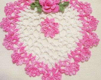 Mother's day /Valentines/ Christmas gift hand dyed heart crocheted doily colorful hand dyed heart home decor handmade in USA original design