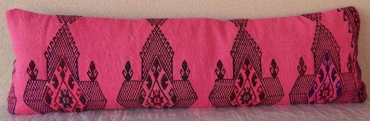 40'' X 12'' Pink Kilim Lumbar Pillow Cover, Oversize Big Size Bedding Pillow. #Handmade