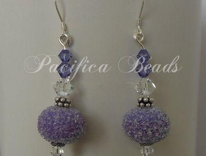 Sugar bead & crystal earrings- purple. Handmade glass sugar beads, Swarovski crystal, Sterling silver spacers and earwires.