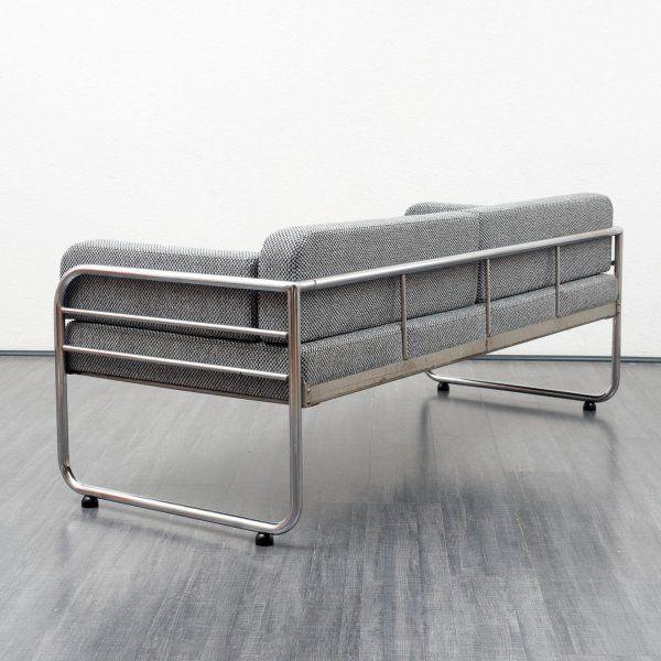 Velvet-Point - sitzmöbel_sofas Bauhaus Daybed mit Stahlrohrgestell, neu gepolstert - Karlsruhe