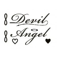 Angel Devil awesome temporary tattoo. One tattoo of the design above. Have a look at our application instructions. Awsm tattoos are safe and non-toxi