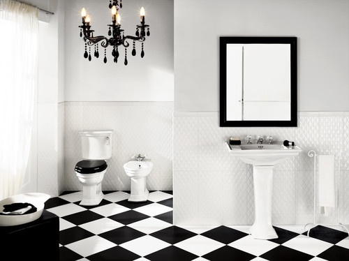 BiancoNero Black And White Floor Tile And Deco Classico Quilted Wall Tile  Contemporary Floor Tiles