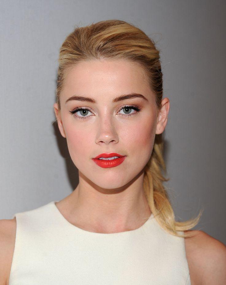 Amber Heard makeup, red lips, soft blush, subtle eye makeup, natural, perfect eyebrows