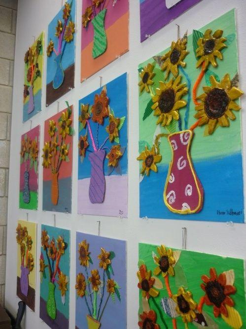 Klei - zonnebloemen