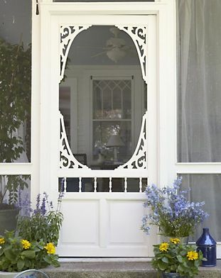 Detailed entry to the screened porch, and look at that beautiful window you can see through the screen door.