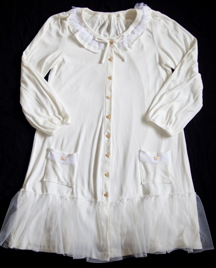 cute kawaii broken white long cardigan with tulle and lace mori kei girl style coat