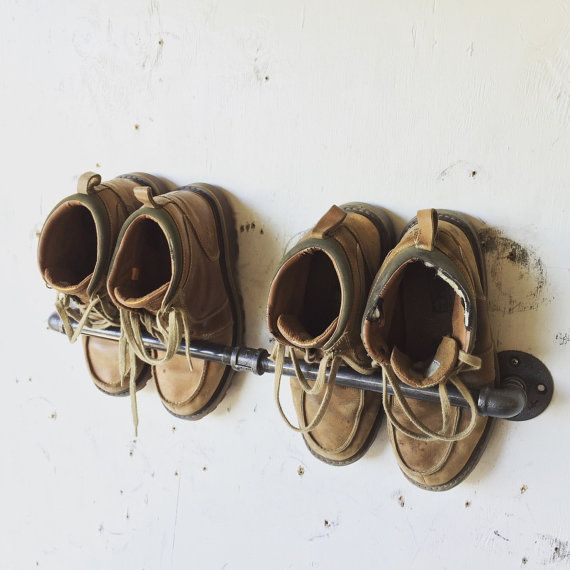 "Industrial Shoe Rack 21"" Rustic Industrial Wall Mounted Shoe Rack 
