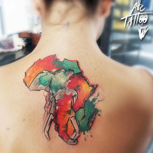 Картинки по запросу watercolour africa tattoo