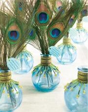 peacock bud vase centerpiece