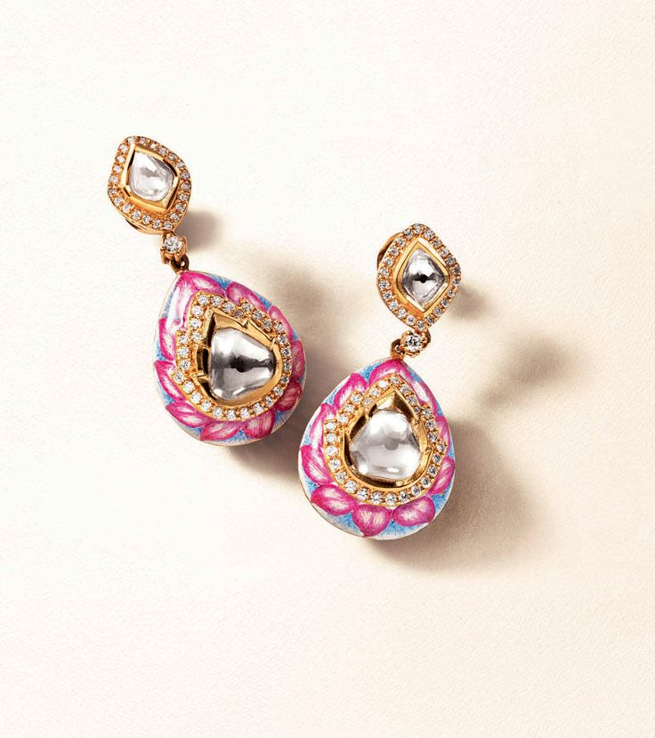 Zoya earrings in yellow gold with polki diamonds and enamel work