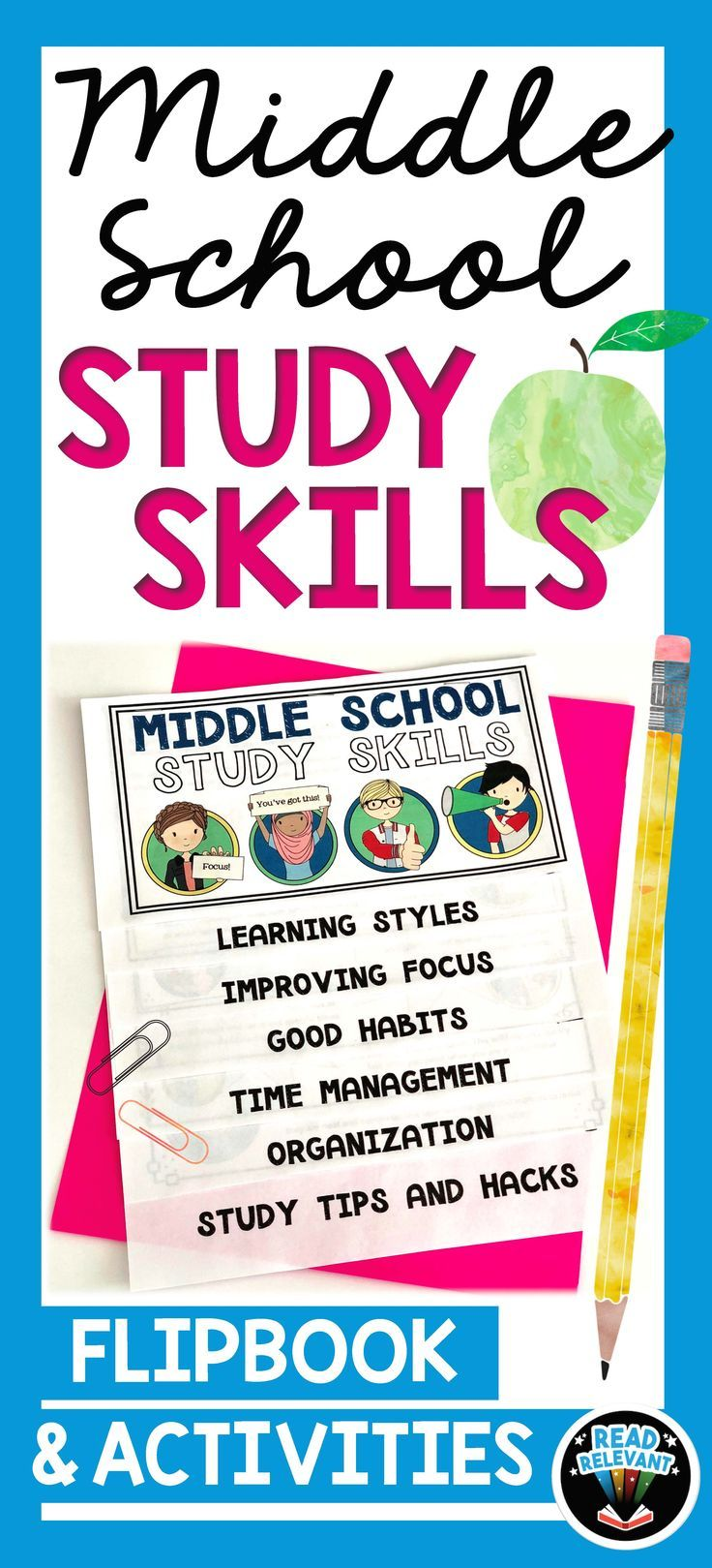 Help your middle schoolers start the year strong with better study skills. Topics covered include time management, organization, good habits, study skills and hacks, and learning styles. In addition, there are five interactive activities for the students to complete.