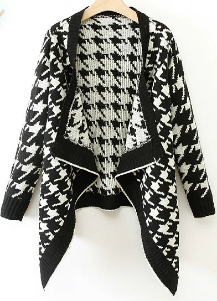 Buy Black Long Sleeve Houndstooth Knit Cardigan