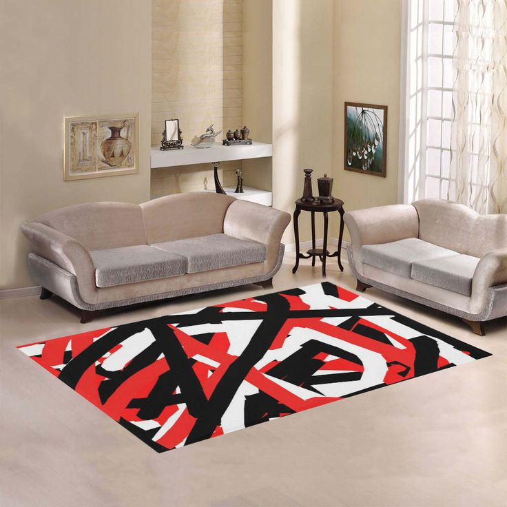 Red Black and White Graffiti Area Rug;