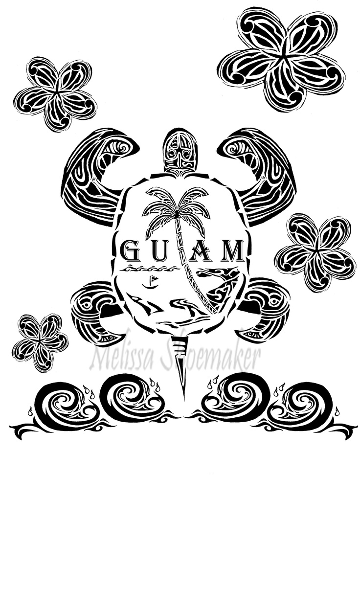 Black and White 'Guam Flag in Tribal Fashion'  Custom: T-Shirt Design  Originally drawn in pencil, then refined using Adobe