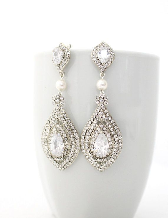 Hollywood Carpet Glamour Bridal Statement Gold Pearl Crystal Chandelier Earrings