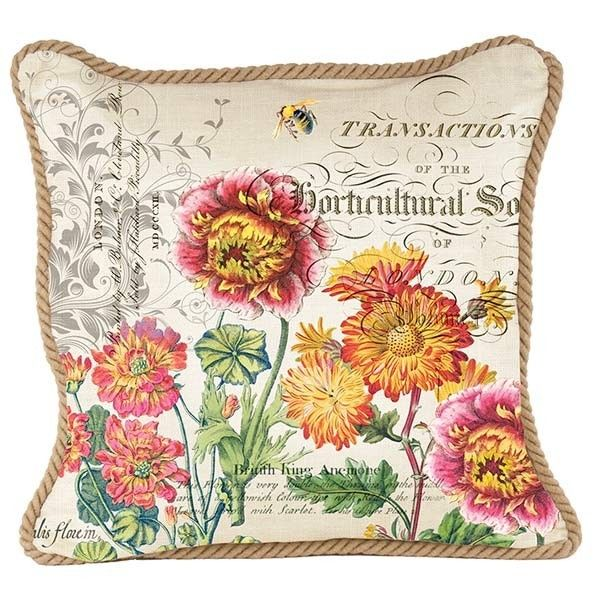 Blooms and Bees Square Pillow