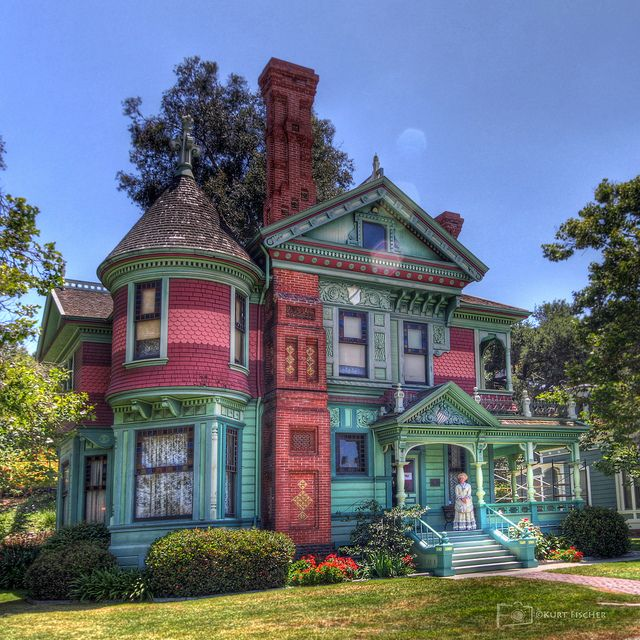Hale House, Los Angeles, CA - Built in 1887 by George W. Morgan, a land speculator and real estate developer, at the foot of Mount Washington just a few blocks from Highland Park. From the time of its construction, the house was sold many times and was moved from 4501 to 4425 North Pasadena Avenue (now Figueroa Street) before being purchased by James G. and Bessie Hale in 1906.