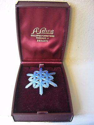Norwegian Ottar Hval Norway 925S Sterling Blue Enamel Snowflake Pin Brooch