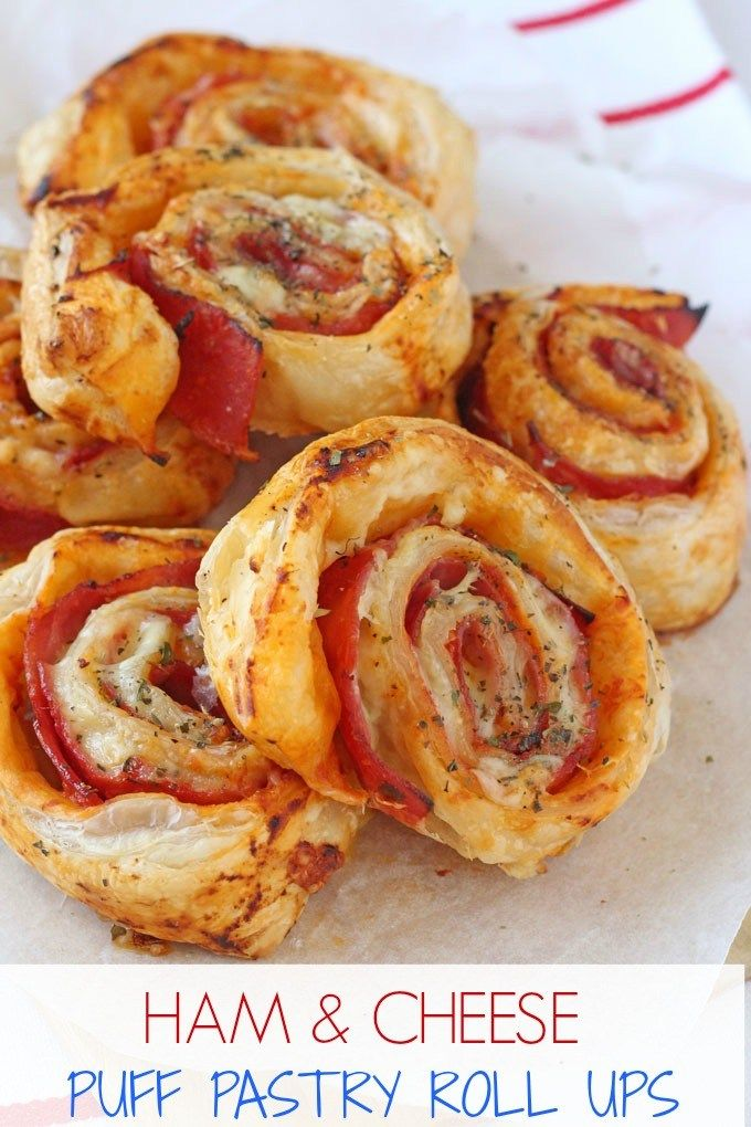 Delicious Ham & Cheese Roll Ups made with puff pastry. They make a lovely treat tea for the family or can even be eaten cold for lunch! | My Fussy Eater blog