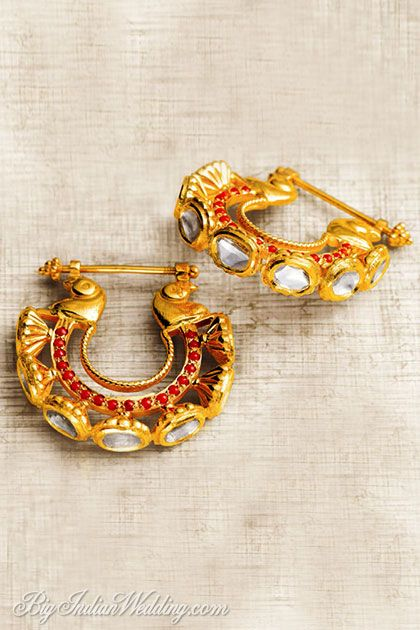 Diamond ruby Indian earrings Zoya