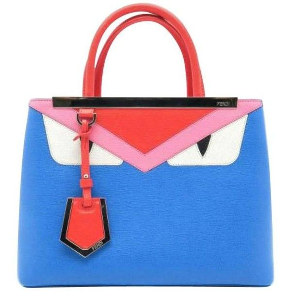 Preowned Fendi Petite 2jours Multi Color Calfskin Leather Top Handle... (89.445 RUB) ❤ liked on Polyvore featuring bags, handbags, shoulder bags, blue, top handle bags, multi colored purses, shoulder strap purses, fendi handbags, top handle leather handbags and blue purse