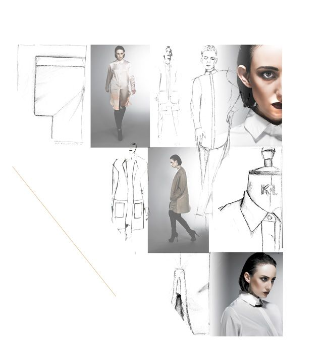 Fashion Design - shirt drawings; creative fashion sketchbook layout; fashion portfolio // Janine Clark