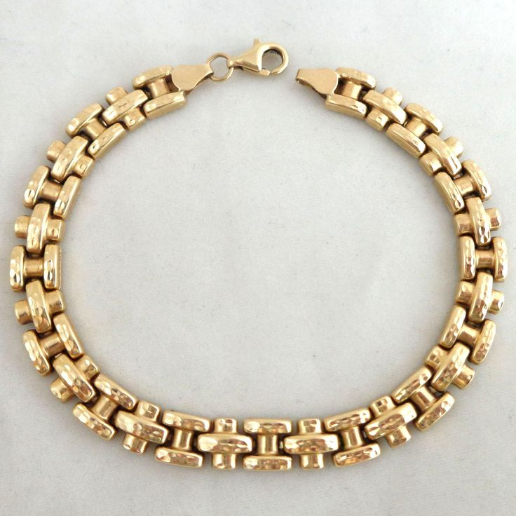 Estate 10K Gold Textured Ladder & Cross Link Bracelet