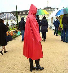 ROT-Orig-Kleppermantel-Gummimantel-Regenmantel-Raincoat-Rubbercoat-1A-Zustand