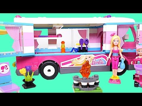Barbie Build n' Play Luxe Camper MEGA BLOKS Caravana de Hijo Barbie Mini-Figures Toys - YouTube