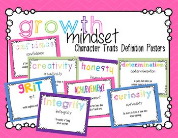 8 posters to promote character traits of growth mindset. Includes: Confidence Creativity Grit Integrity Honesty Achievement Determination Curiosity