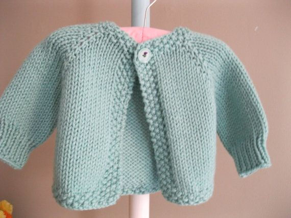 Hand knit baby sweater - Pastel Turquoise Cardie