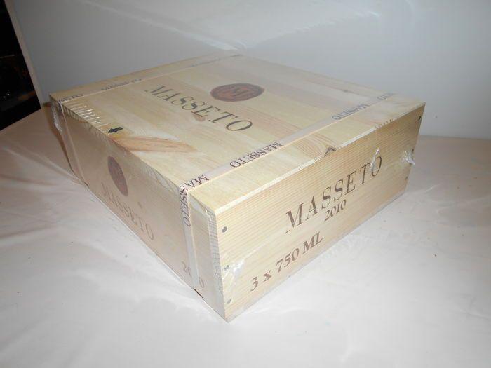 2010 Masseto Tenuta dell 'Ornellaia - 3 bottles in original sealed wooden case - 98-100 Parker Pts 1800