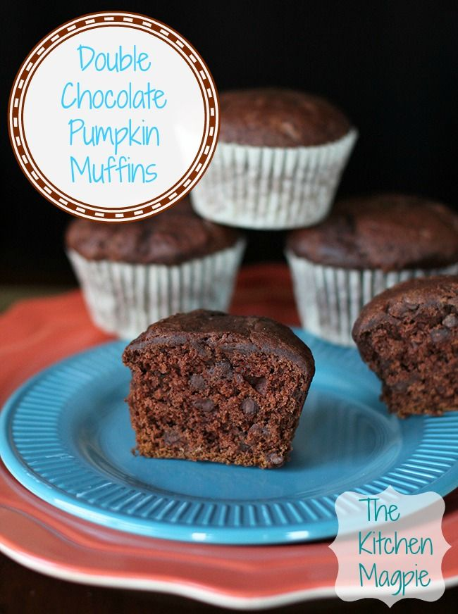 Double Chocolate Pumpkin muffins, more like a cupcake. from @Karlynn Johnston: The Kitchen Magpie #recipes #chocolate #food
